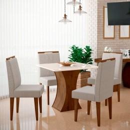 Mesa de Jantar Com 4 Cadeiras Gabrielle Noce / Off White