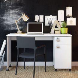 Mesa Escrivaninha com Gaveta Branco Brilho Office Malta