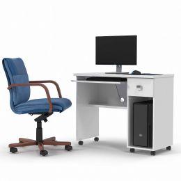 Mesa de Computador com Gaveta Branco Brilho Vicenza