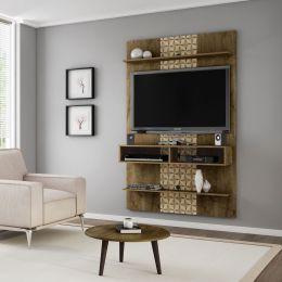 Painel para tv até 47'' Vega com Mesa de Centro Madeira Rústica / Madeira 3D - Móveis Bechara