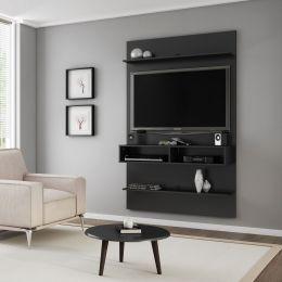 Painel para tv até 47'' Vega com Mesa de Centro Preto Fosco - Móveis Bechara