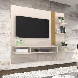 Painel Para Tv Até 50 Polegadas Off White / Amêndoa Cross