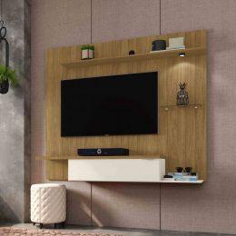 Painel para tv até 55'' Ubatuba Cinamomo / Off-White - Móveis Bechara
