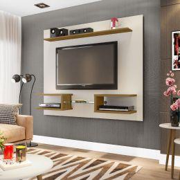 Painel para tv de até 55'' Atlas Off White / Cinamomo - Móveis Bechara