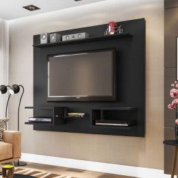 Painel para tv de até 55'' Atlas Preto Fosco - Móveis Bechara