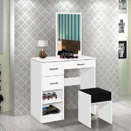 Penteadeira com Banqueta e Espelho  Bianca Branco - Móveis Cambel