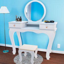 Penteadeira com espelho Branco Brilho Izabel 7800 - JB Bechara
