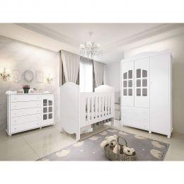 Quarto Infantil Completo 100% MDF com Roupeiro 3 Portas Branco Royalli Classic