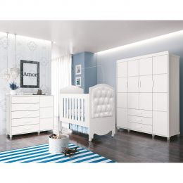 Quarto Infantil Completo 100% MDF com Roupeiro 4 Portas Branco com capitone Prince