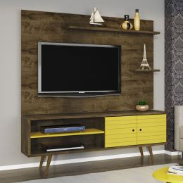Rack com Painel para tv até 55'' Onix Madeira Rústica / Amarelo - Móveis Bechara