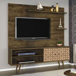Rack com Painel para tv até 55'' Onix Madeira Rústica / Madeira 3D - Móveis Bechara