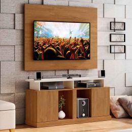 Rack com Painel Para Tv Até 55 Polegadas  Amêndoa / Off White Orion