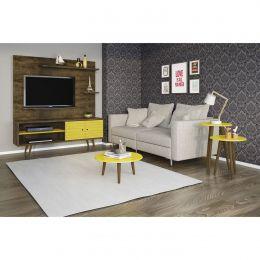 Sala completa Ônix Madeira Rústica / Amarelo - Móveis Bechara