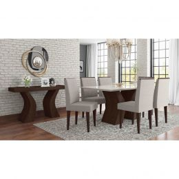 Sala de Jantar Mesa com 6 Cadeiras e Aparador Álamo /Off White Santorini