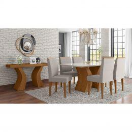 Sala de Jantar Mesa com 6 Cadeiras e Aparador Damasco/Off White Santorini