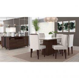 Sala de Jantar Mesa com 6 Cadeiras e Bancada Álamo/ Off White Positano