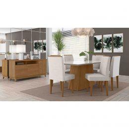 Sala de Jantar Mesa com 6 Cadeiras e Bancada Damasco/Off White Positano