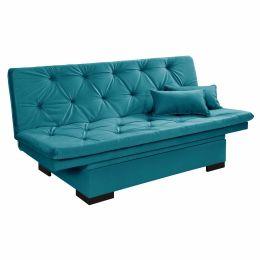 Sofá Cama 3 Lugares reclinável com baú Estofados Azul Turquesa - Essencial Estofados