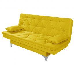 Sofá Cama 3 Lugares reclinável Estofados Amarelo - Essencial Estofados