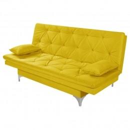 Sofá Cama 3 Lugares Reclinável Estofado Amarelo