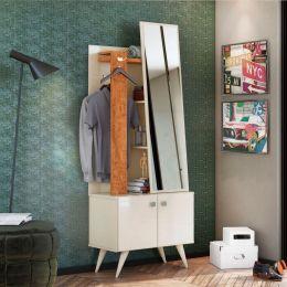 Toucador 2 Portas e Espelho P/ Quarto Off White / Amêndoa Solaris