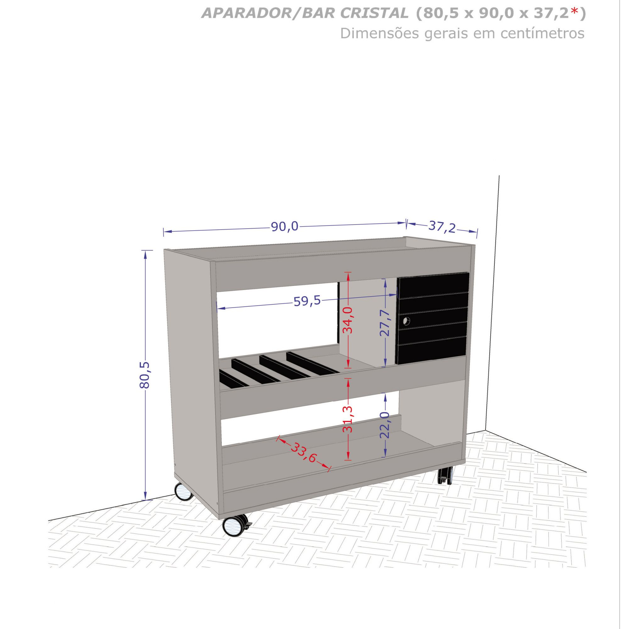 Aparador Bar Cristal Preto Fosco - Móveis Bechara