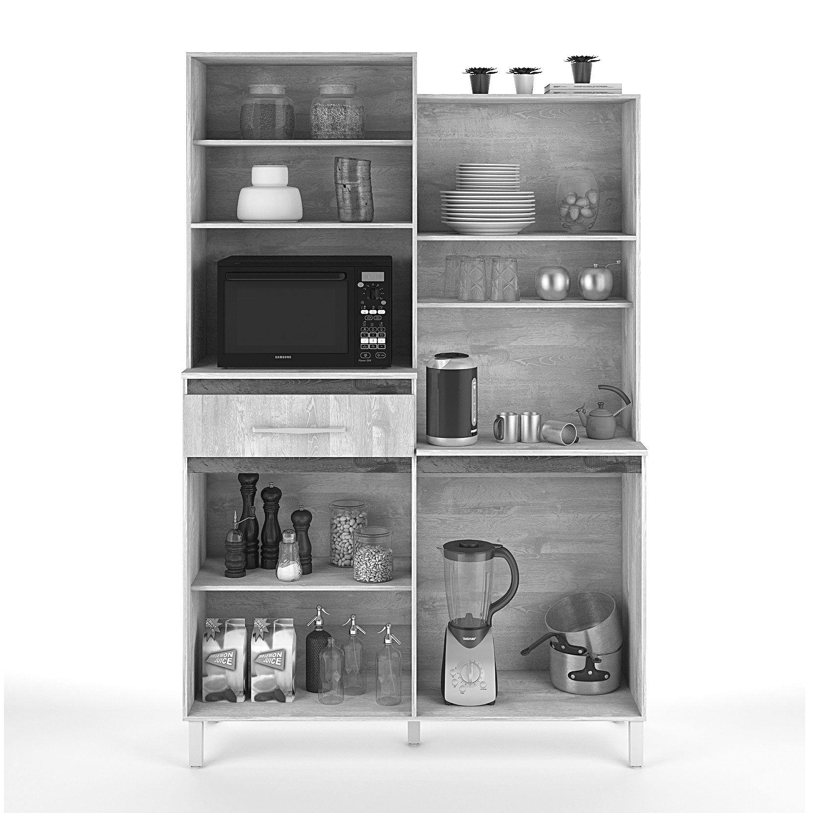 Armário para Cozinha 4 Portas Amêndoa / Camurça Pérola