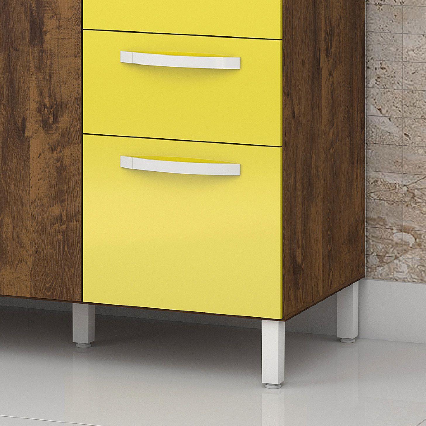 Armário de Cozinha 4 Portas Malbec / Amarelo Diamante