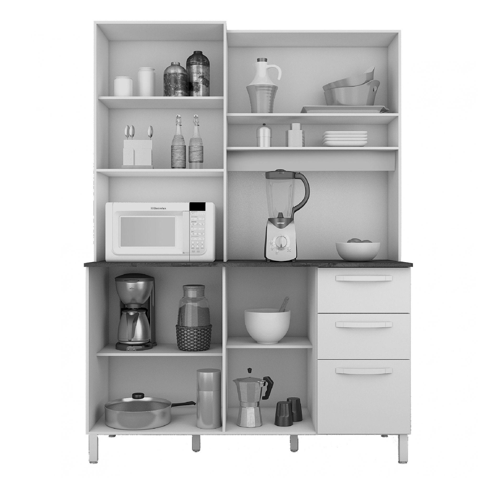 Armário de Cozinha 4 Portas Malbec / Camurça Diamante