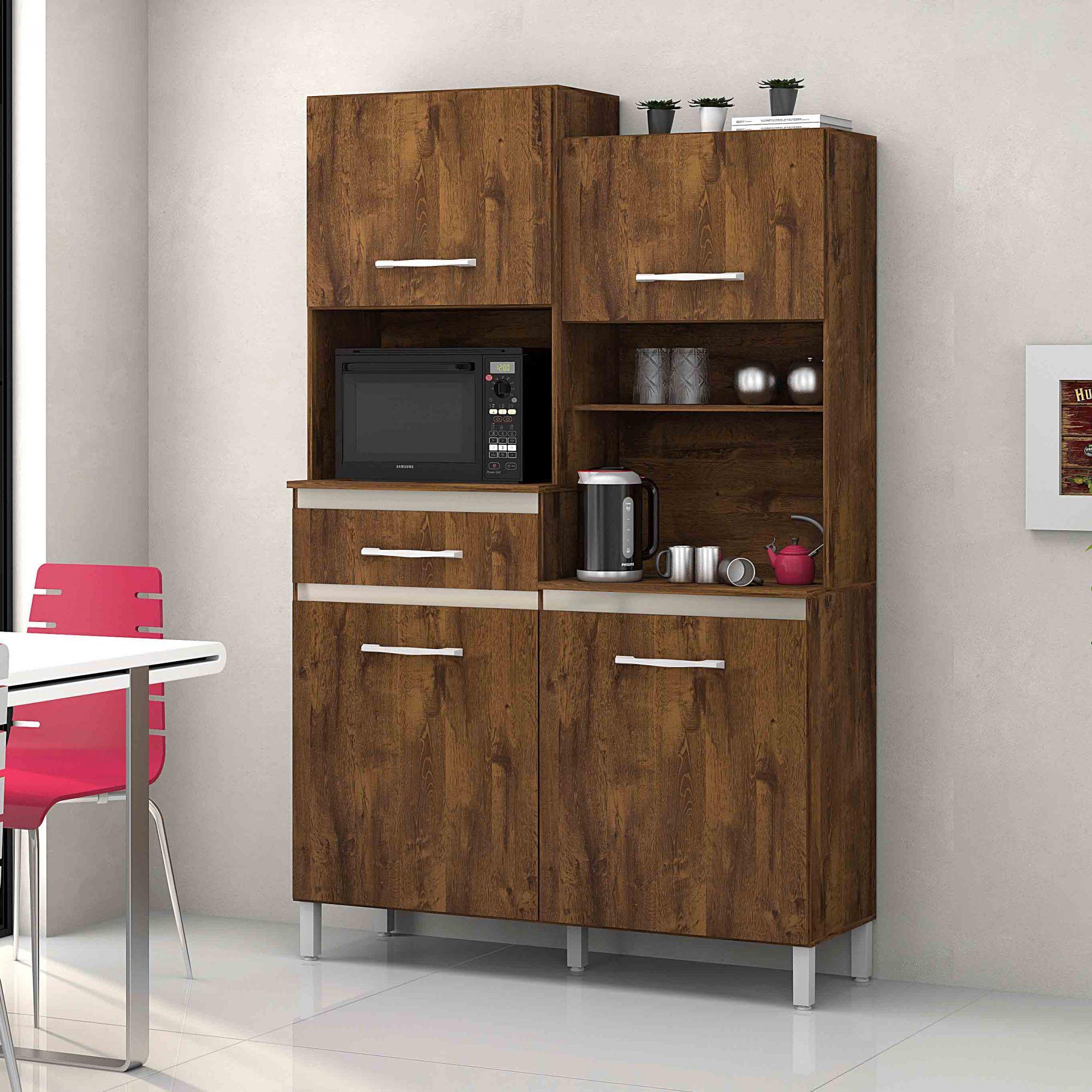 Armário para Cozinha 4 Portas Malbec / Camurça Pérola