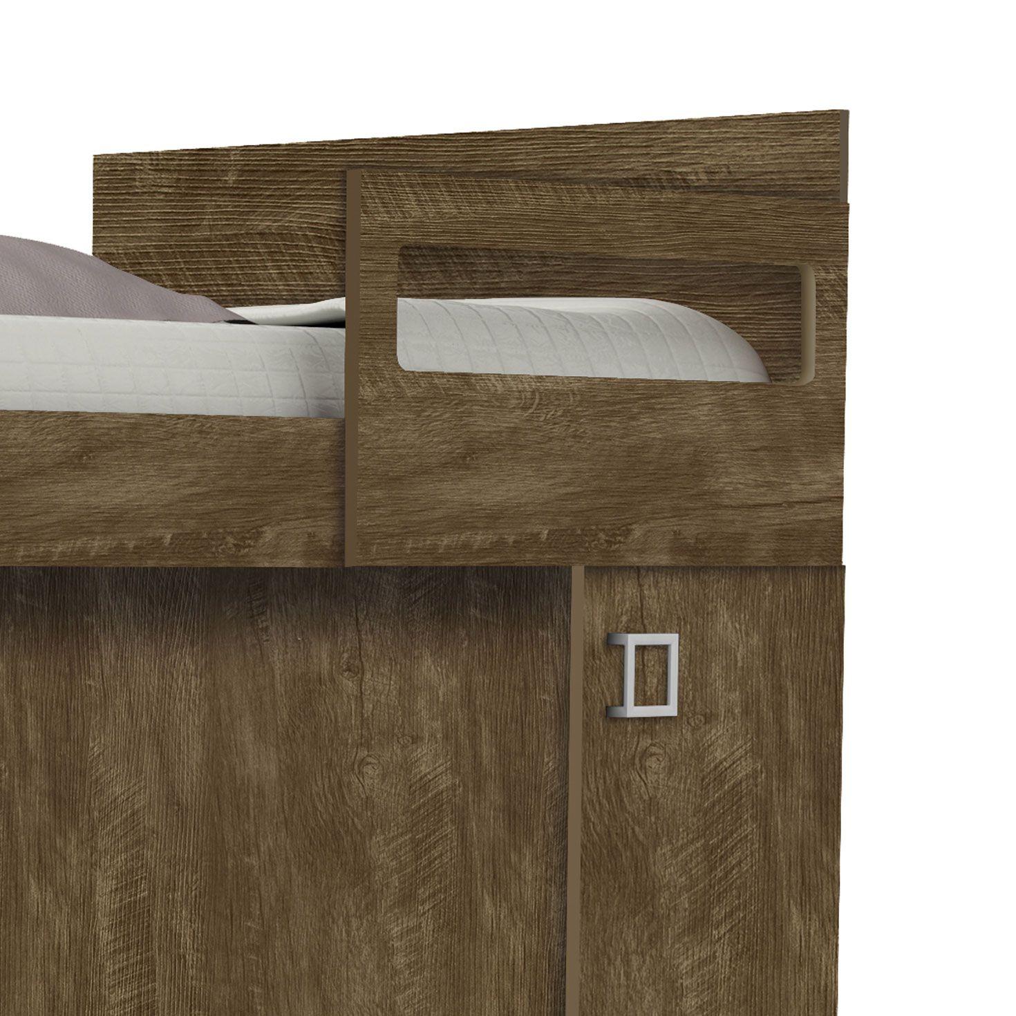 Beliche Solteiro com Porta Vitória Castanho Wood