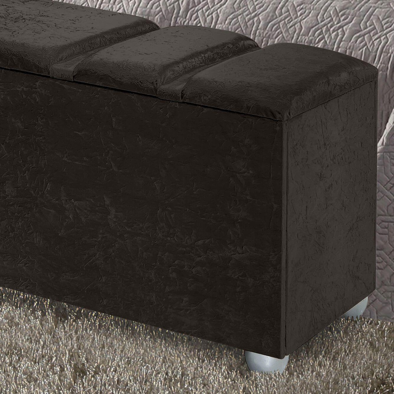 Cabeceira Box Casal com Recamier Siena 1.4 Suede Marrom - R.A Estofados