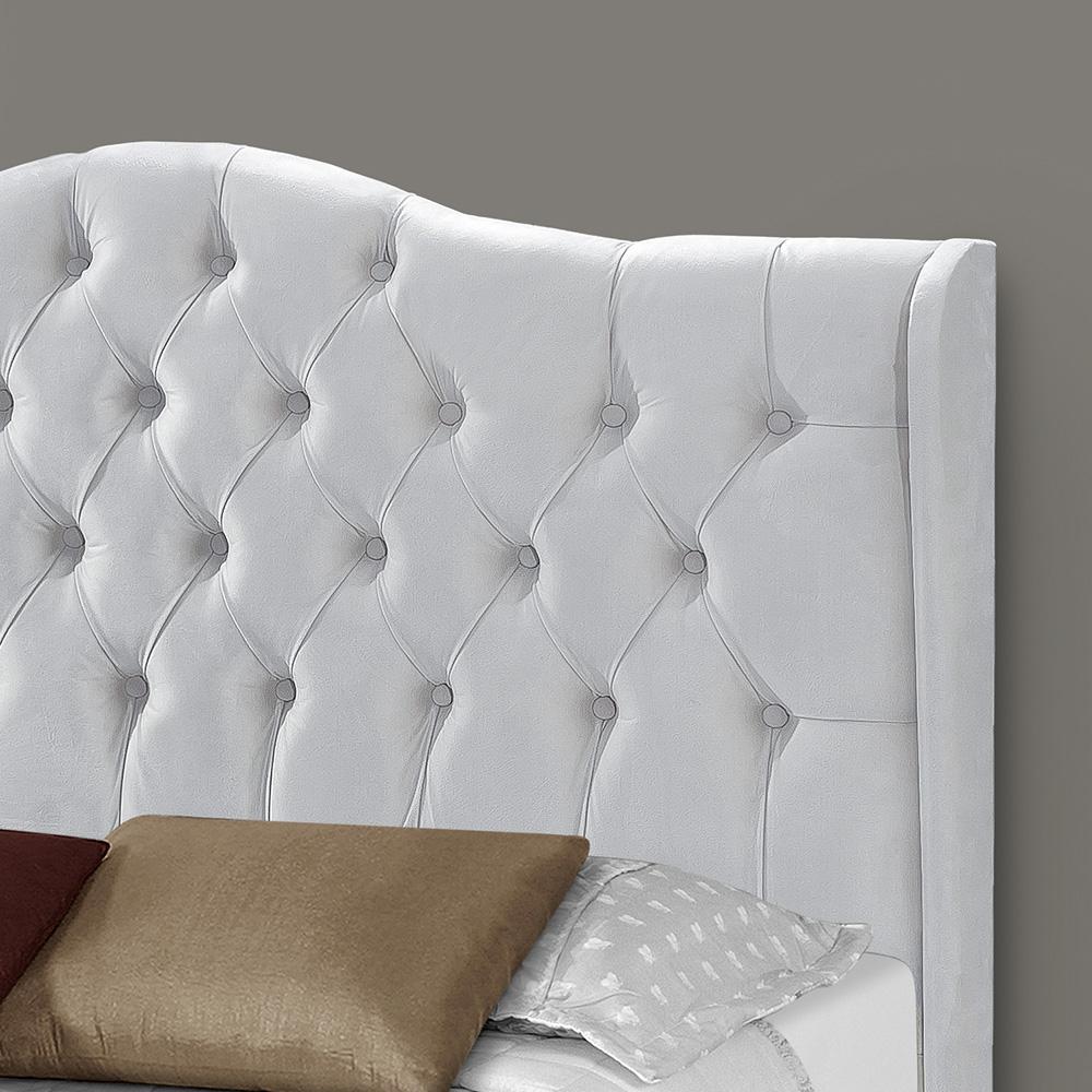 Cabeceira Box Queen Dubai 1.6 Corino Branco - LH Móveis