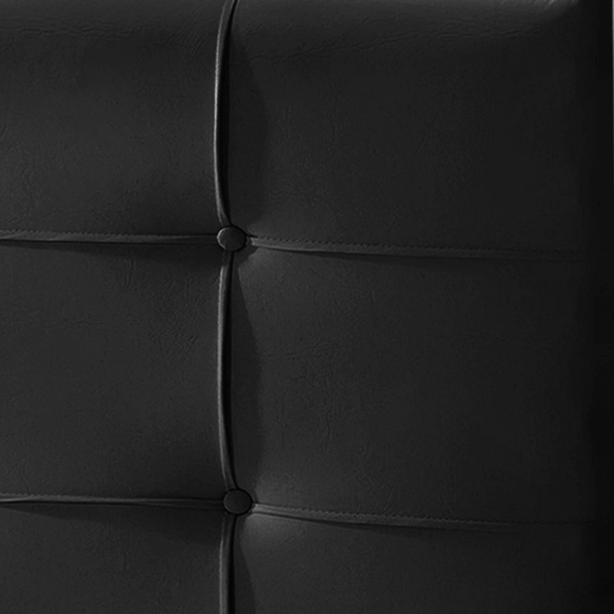 Cabeceira Box Solteiro Hadassa 0.90  Corino Preto - R.A Estofados