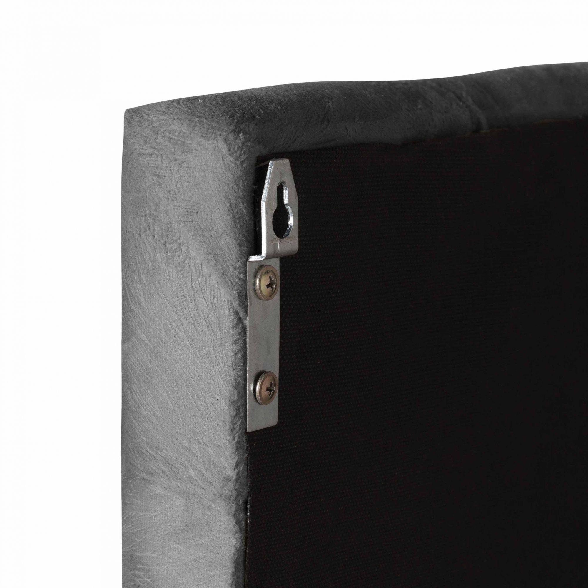 Cabeceira Cama Box King Valência 1.95 Suede Cinza - LH Móveis