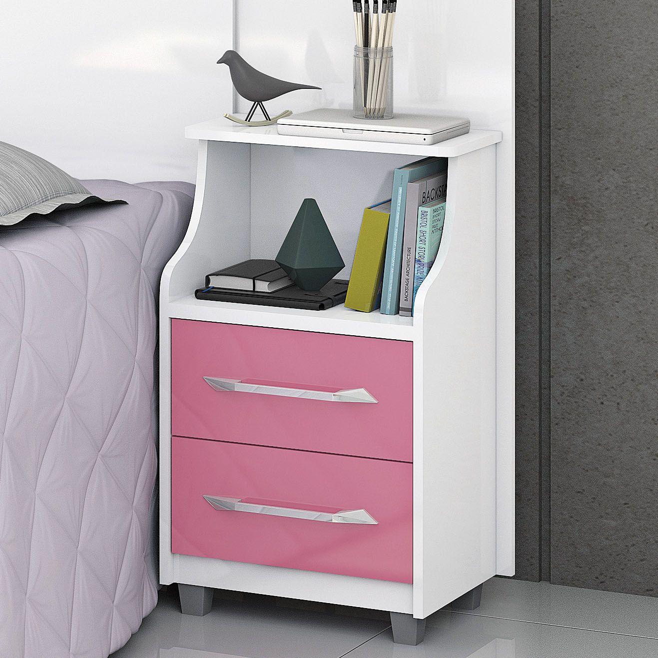 Cabeceira Solteiro com mesa de cabeceira Flórida Branco/Rosa
