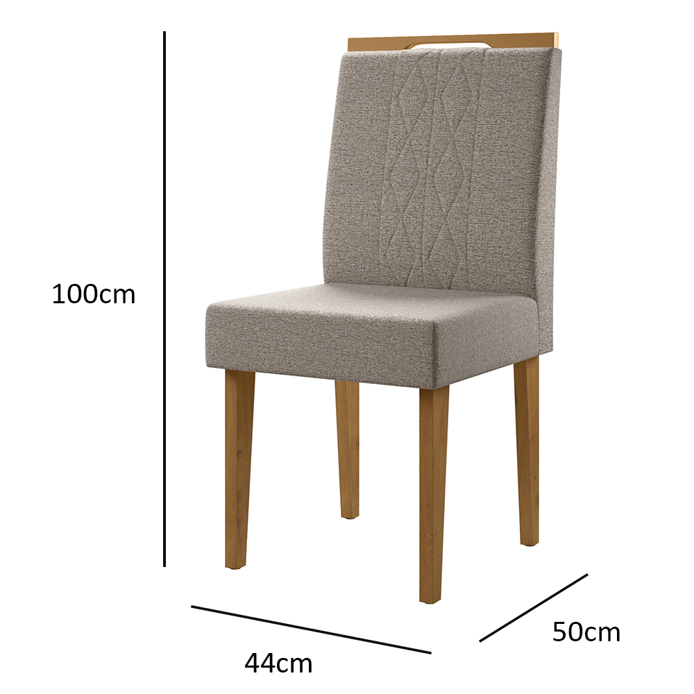 Cadeira Estofado Madeira Maciça Canela / Titânio