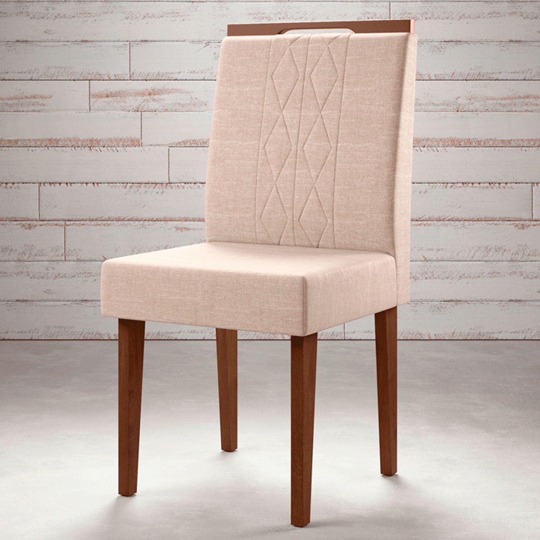 Cadeira Estofado Madeira Maciça Noce / Champagne