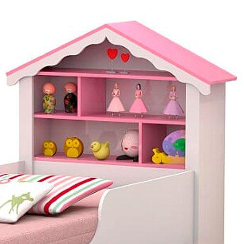 Cama Casa Solteiro Princesa Branco/Rosa com Colchão