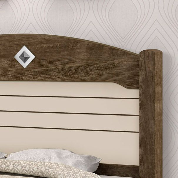 Cama Casal Kely Castanho Wood/Off White