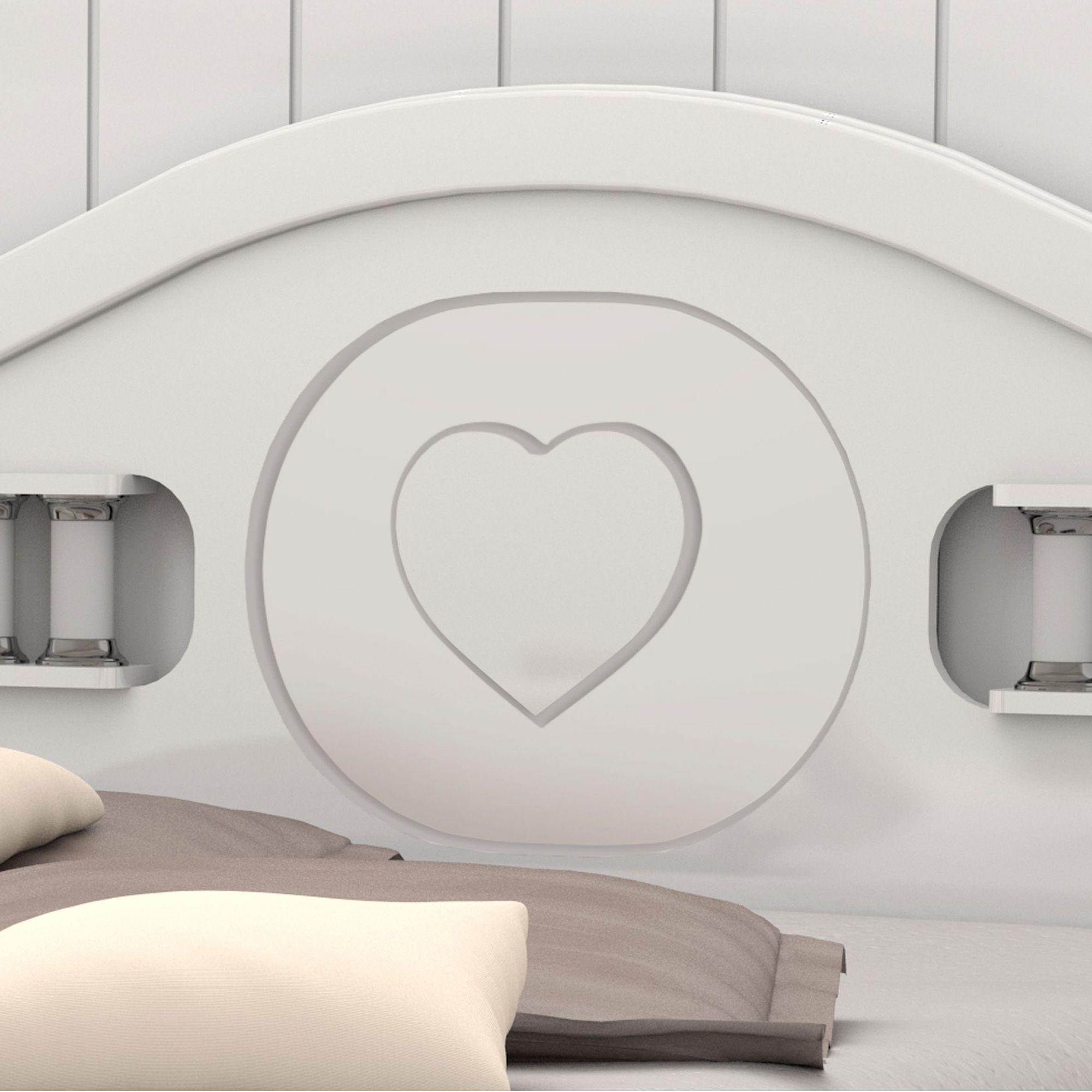 Cama Casal Coração Branco