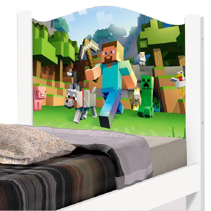Cama Solteiro Adesivada Minecraft
