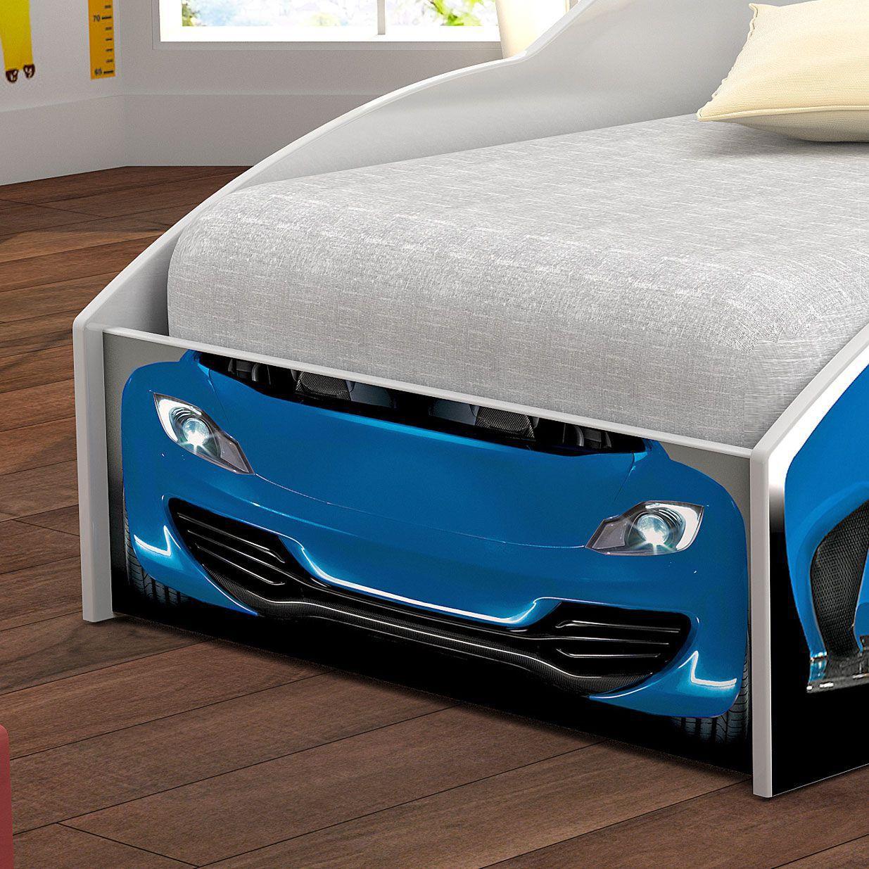 Mini Cama Carro Corrida Azul