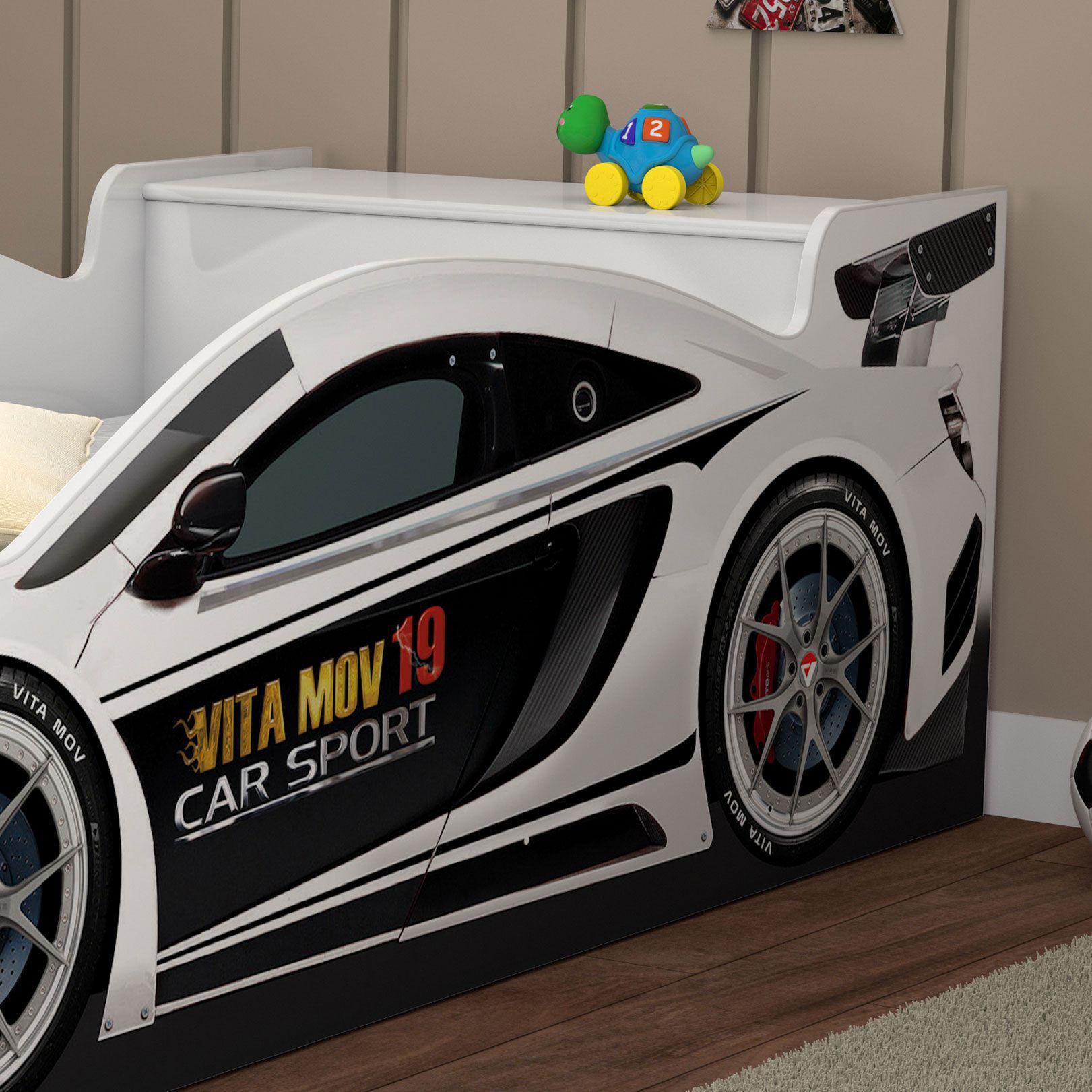 Mini Cama Carro Corrida Branco