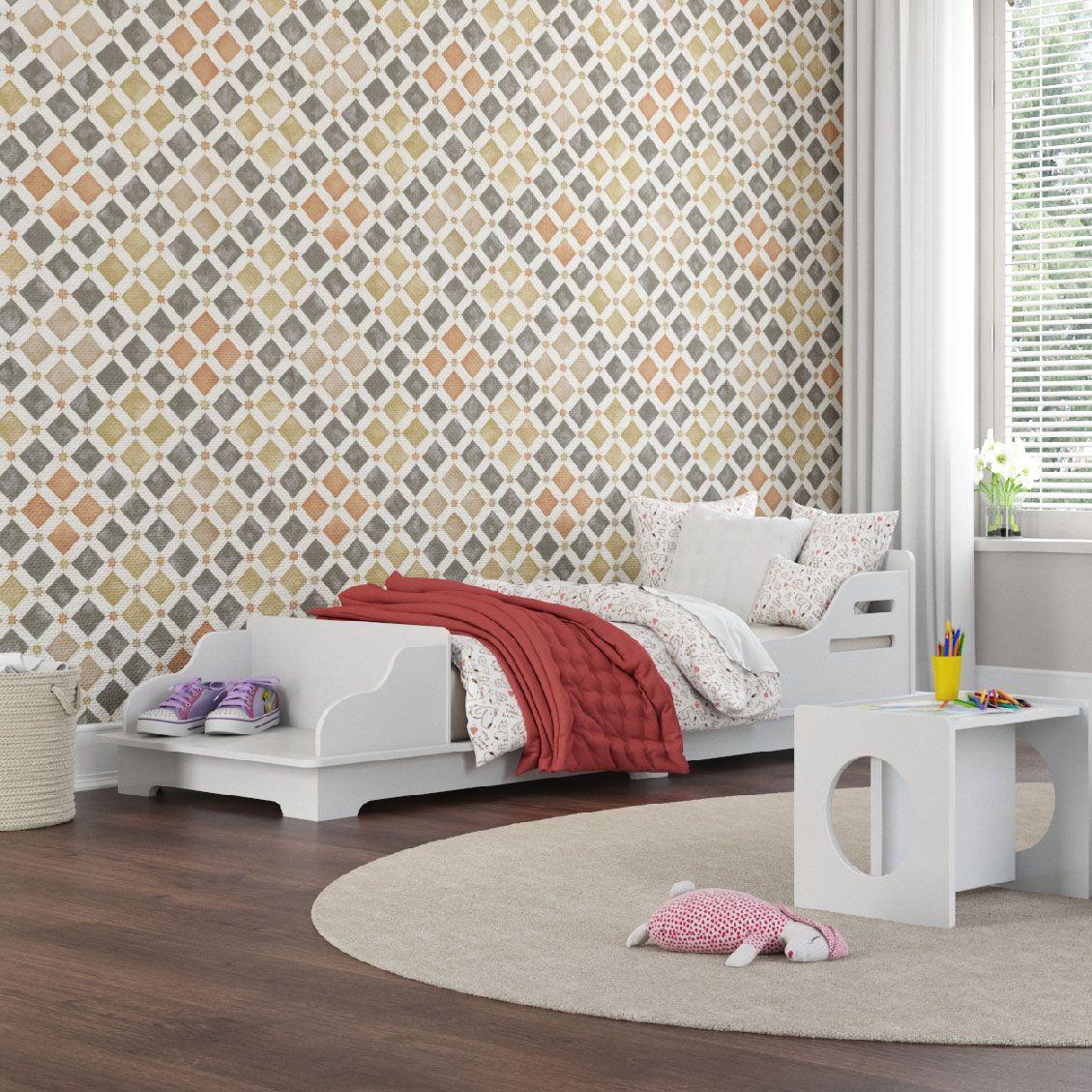 Cama Infantil Montessore 100% MDF Wood Branco com Colchão