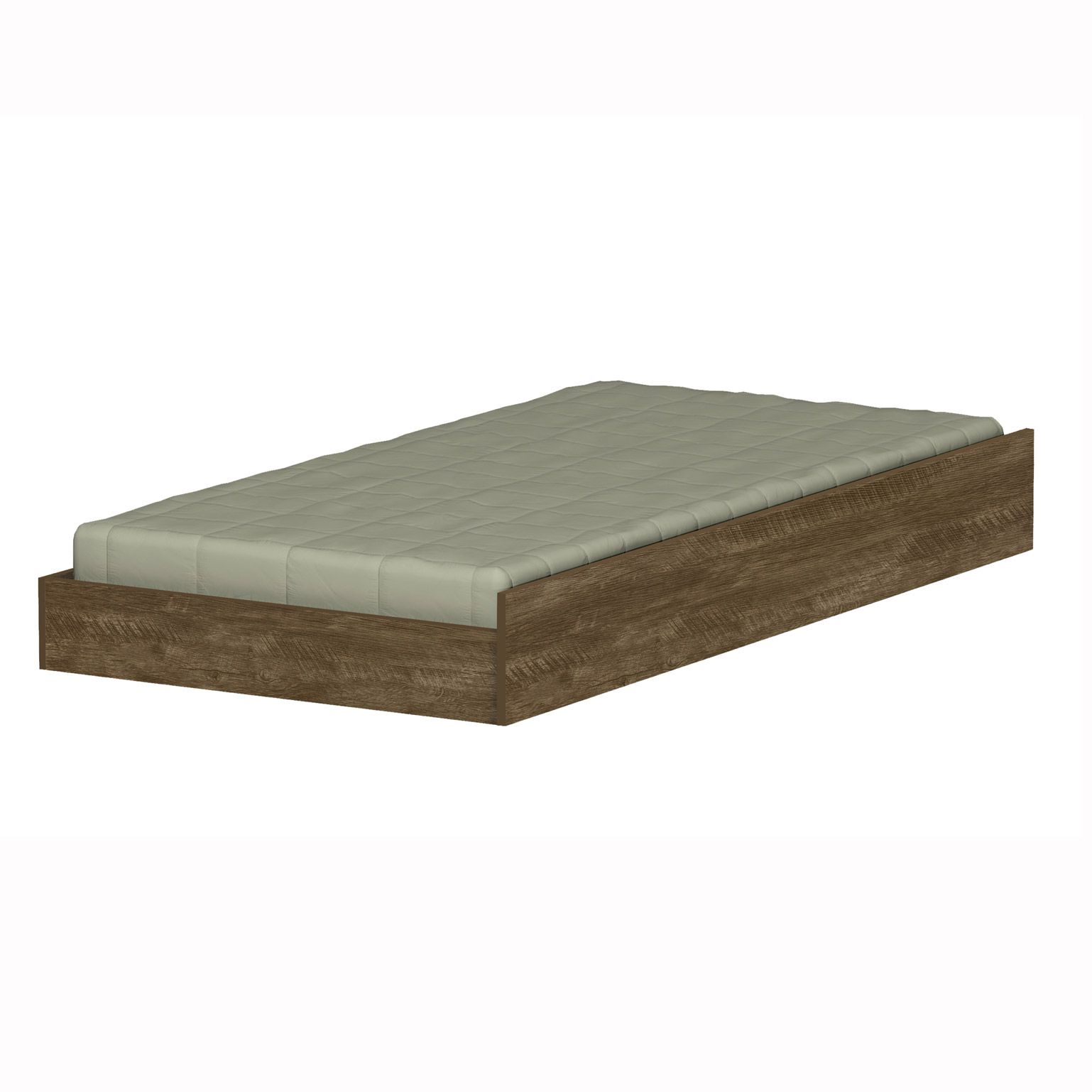 Cama Solteiro Bibox Luara Castanho Wood