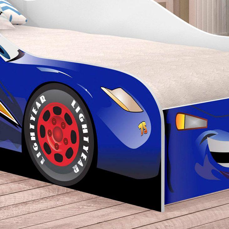 Cama Solteiro Carro Corrida 08 Azul
