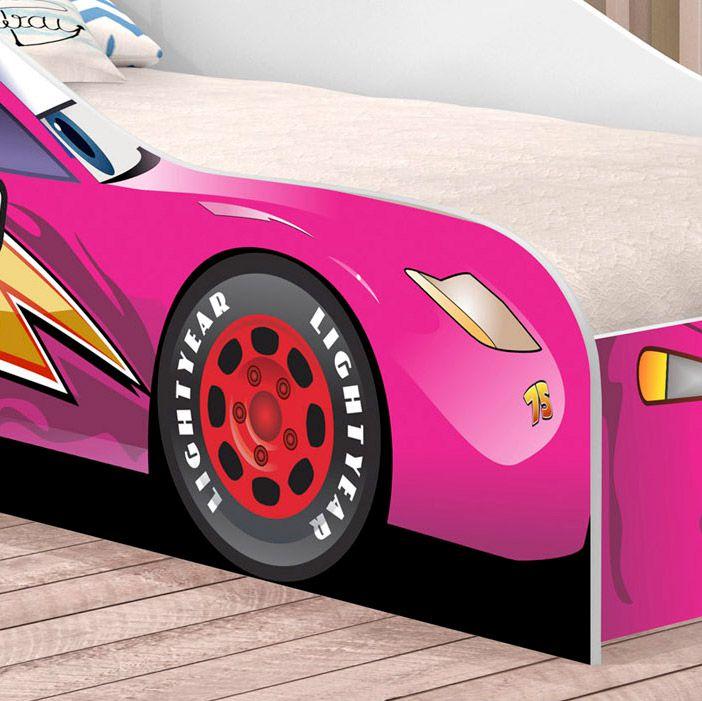 Cama Solteiro Carro Corrida 09 Rosa