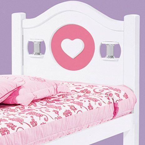 Cama Solteiro Coração Branco/Rosa