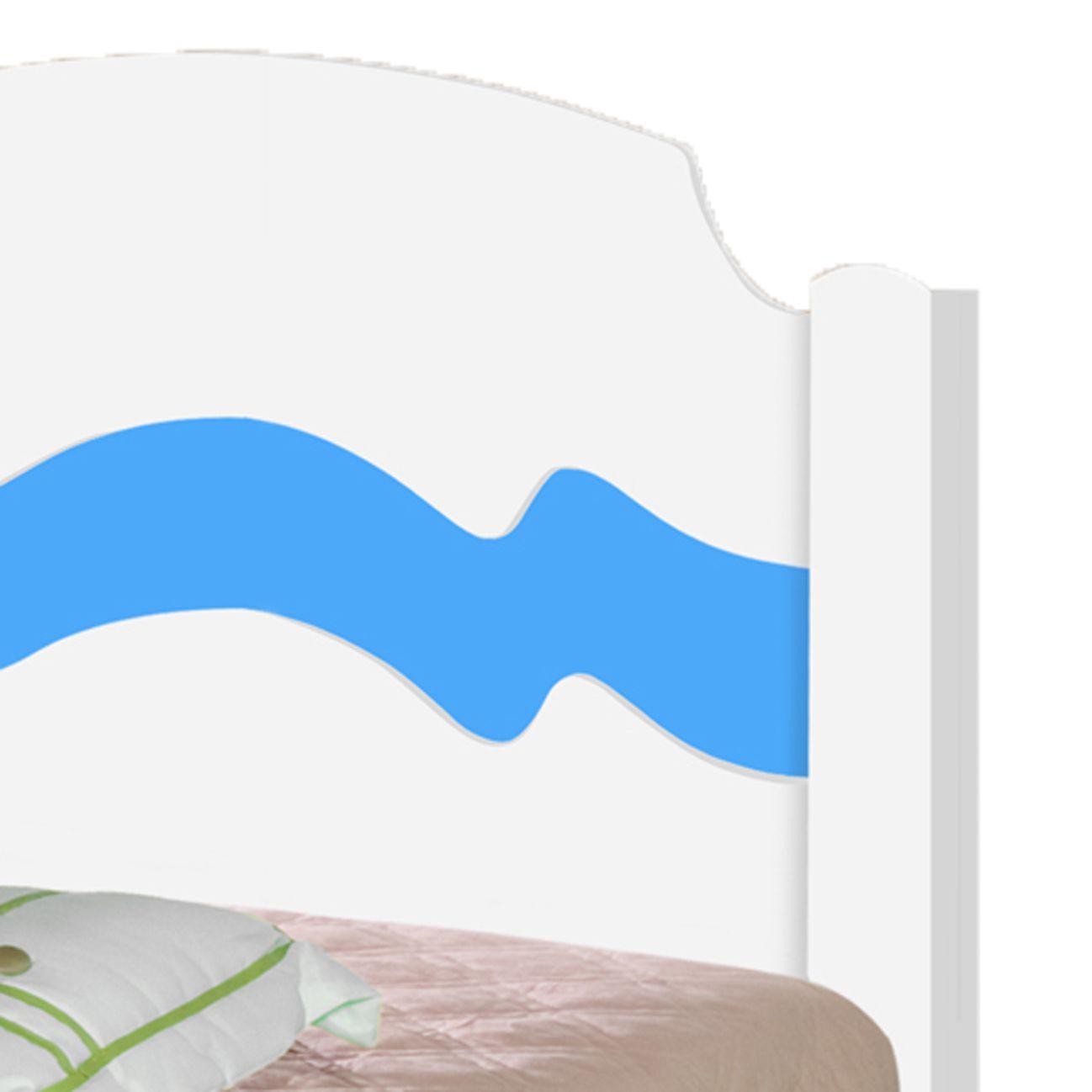 Cama Solteiro Iris Branco/Azul com Colchão